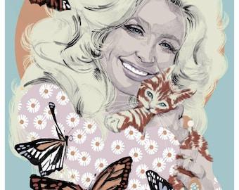 A3 Dolly Parton Butterflies Print