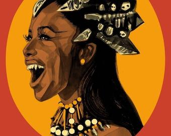 A4 Aaliyah Queen Akasha Print