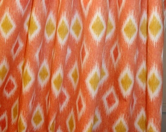 Mill Creek Orange geometric Printed Cotton Drapery Fabric.Great fabric for the girls room.12 yards by the yard.