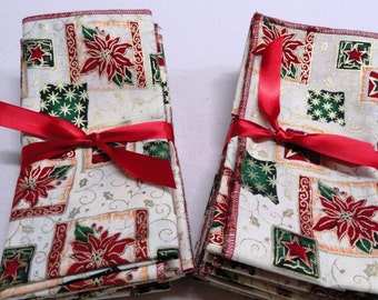"""Set of 6 christmas napkins 14""""x 18"""" cotton Dinner napkins. Red,gold color .Great gift."""