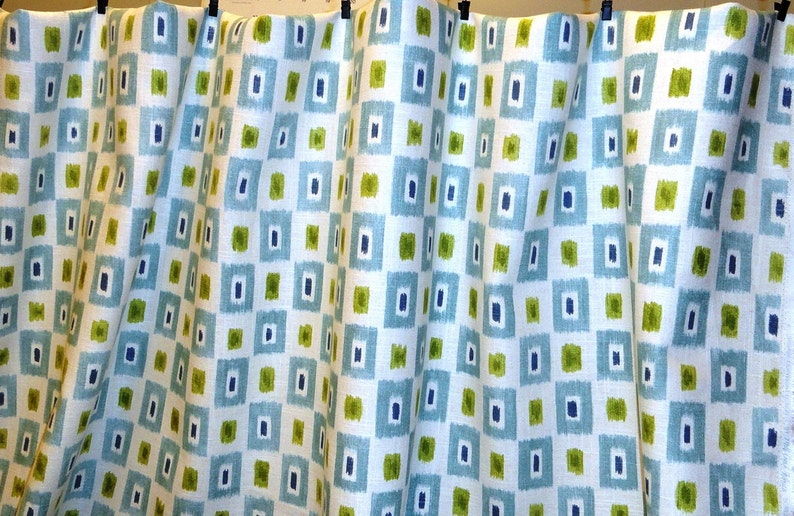 6,5 yards.Great fabric for the boy room! Contemporary Dot Geometric Marine linen fabric.Blue green fabric by the yard