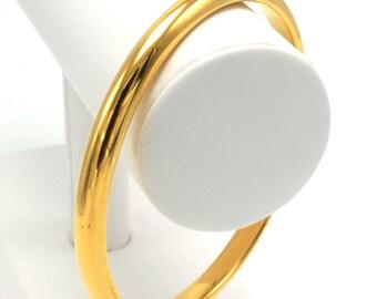 Simple Vintage 14k Gold Hollow Bangle Bracelet