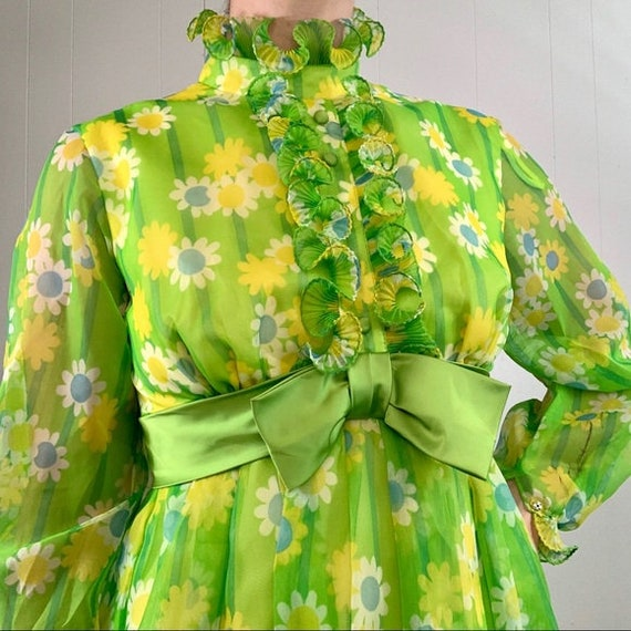 VINTAGE Green Long Sleeve Maxi Dress | 1960's - 1… - image 4