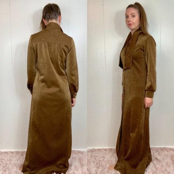 VINTAGE CARON Gold Long Sleeve Maxi Dress | Mediu… - image 2