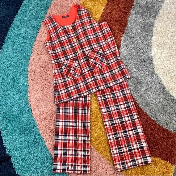 VINTAGE Two Piece Set Plaid Vest and Pants | X-Sma