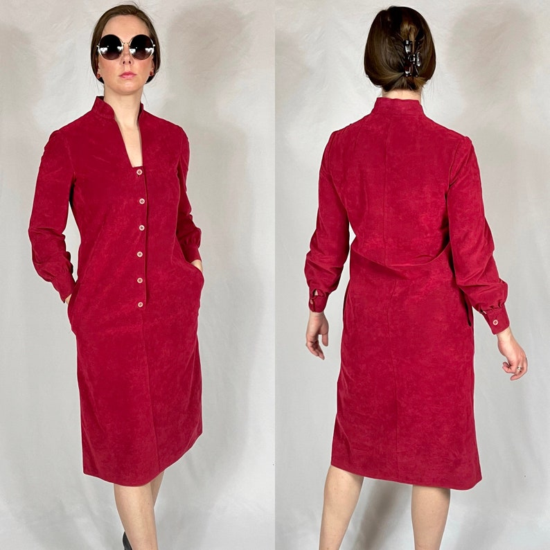 Medium Large VINTAGE 1970/'s Dress Pockets Ultra Suede Small