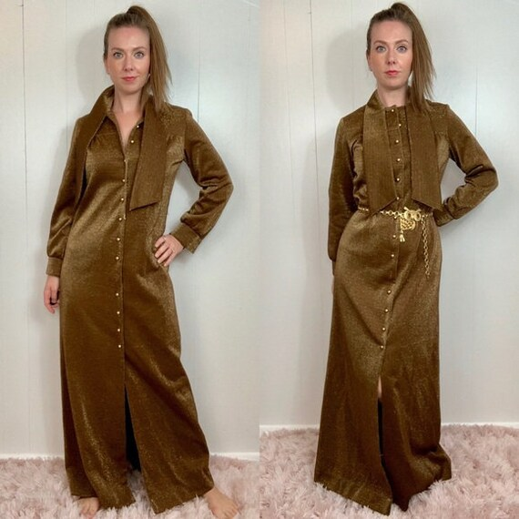 VINTAGE CARON Gold Long Sleeve Maxi Dress | Medium