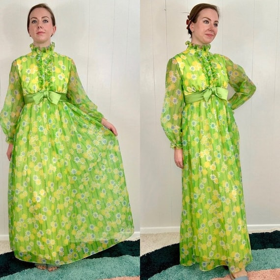 VINTAGE Green Long Sleeve Maxi Dress | 1960's - 1… - image 2