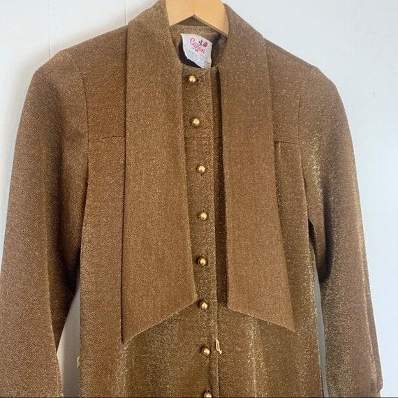 VINTAGE CARON Gold Long Sleeve Maxi Dress | Mediu… - image 5