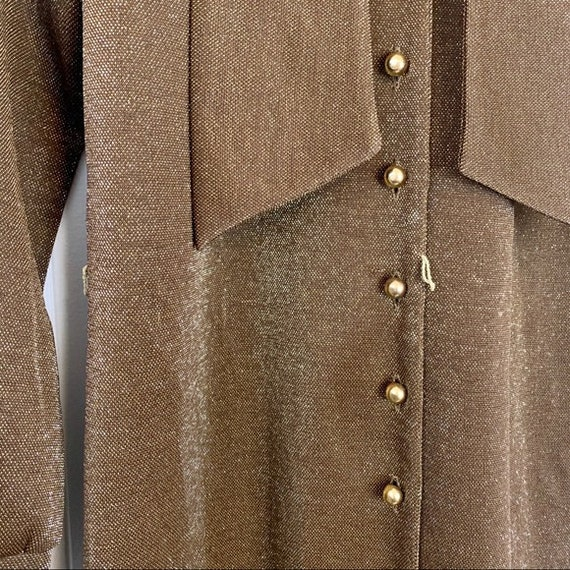 VINTAGE CARON Gold Long Sleeve Maxi Dress | Mediu… - image 6