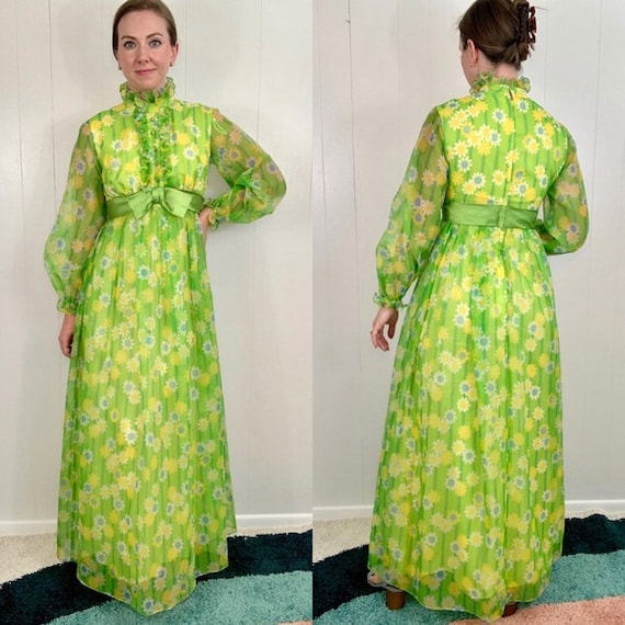 VINTAGE Green Long Sleeve Maxi Dress | 1960's - 1… - image 1
