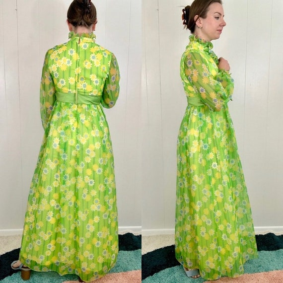 VINTAGE Green Long Sleeve Maxi Dress | 1960's - 1… - image 3
