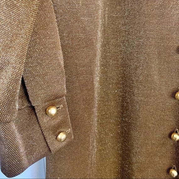 VINTAGE CARON Gold Long Sleeve Maxi Dress | Mediu… - image 4