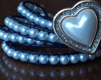 Leather Beaded Wrap White Pearl Bracelet
