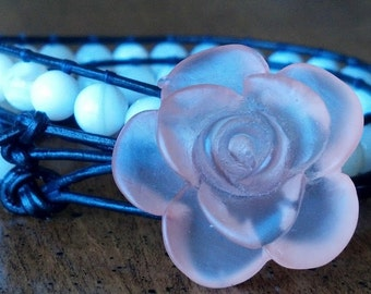 Leather Beaded Wrap White Shell  Bracelet
