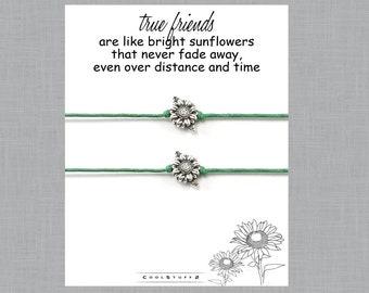 2 Best Friends Sunflower Wish Bracelets Includes Long Distance Friendship Christmas Birthday Gift For Friend
