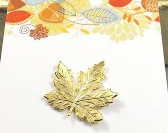 24K Gold Leaf Lapel Pin, Spring Pin, Leaf Tie Tack, Leaf Pin, Maple Leaf Brooch, Leaf Pin, Mens Tie Pin, Fall Leaves Jewelry, Mens Gift