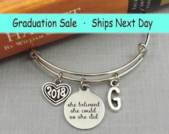 Graduation Bracelet, Graduation Gift, High School Grad 2018, She Believed She Could So She Did, Silver Bangle, Senior 2018 Gift, College