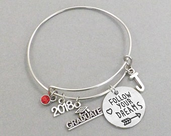 2018 Graduation Gifts for College Graduate, Follow Your Dreams Inspirational Bracelet, High School Grad Personalized Gift for Her, Bangle