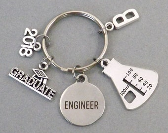 Engineer Gifts, Chemical Engineer Graduate, Engineering College Graduation Gift for Him Her, Class of 2018 Keychain,  Key Chain College Gift