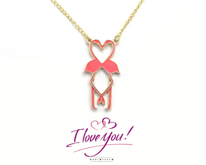 Pink Flamingo Necklace Girlfriend Gift Valentines For