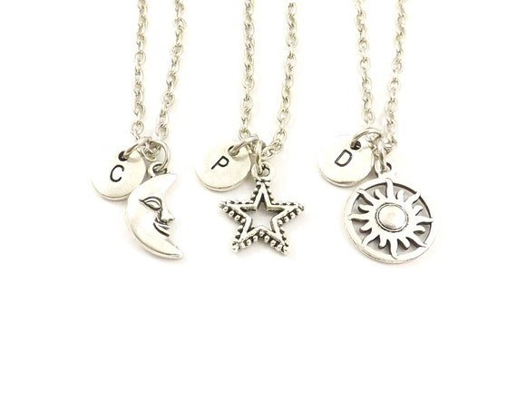 Gift for Mom Besties Necklace Gold Star Necklace Children/'s Initial Star Necklace Personalized Star Necklace Star Initial Necklace