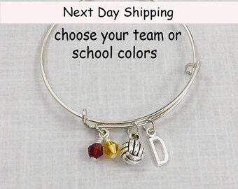 Volleyball Bangle Bracelet, Volleyball Bracelet, Volleyball Charm, School Colors, Personalized Initial, Team Gift, Volleyball Team Jewelry