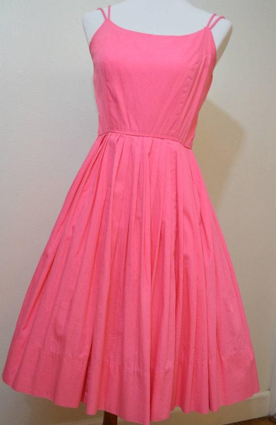 50s dress/ 1950s pink sundress / 50s cotton sundre
