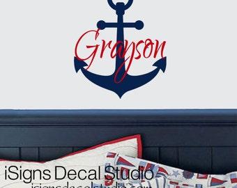 NAUTICAL Wall Decal, Anchor Decal, Custom Name Decal, Vinyl Wall Decals, Nautical Nursery, Boat Anchor Decal Sailing Deca1