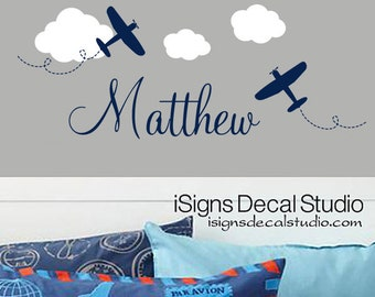 AIRPLANE WALL DECAL - Custom Name Decal- Airplane Name Decal - Airplane Decal -Kids Room Decal -Boys Decal - Airplane Sticker