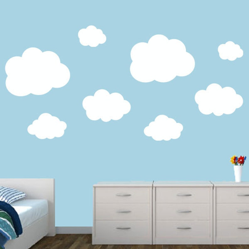 clouds wall decal set 8 nursery clouds kids wall decals | etsy
