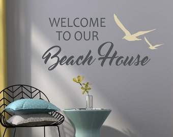 Welcome To Our Beach House Wall Decal   Beach House Decal   Beach Wall  Decals