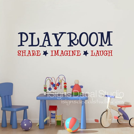 playroom wall decal playroom share imagine laugh wall decal | etsy