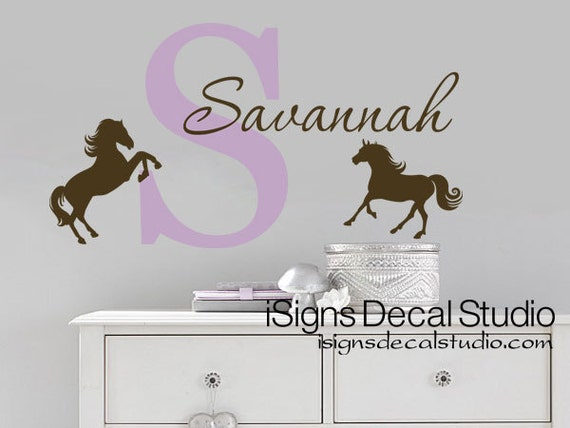 horse wall decal horse initial name western nursery decal | etsy