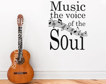 MUSIC WALL DECAL - Music Decal - Music Quote - Music the voice of the soul - Music Sticker - Music Decal - Vinyl Wall Decals