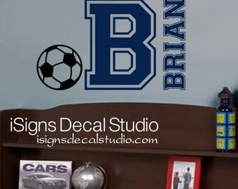 SOCCER WALL DECAL - Custom Name Decal - Kids Soccer Decal - Varsity Name Decal - Soccer Decal - Sports Wall Decal