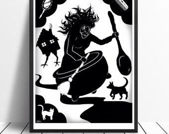 Baba Yaga Witch Silhouette Digital Art Russian Fairytale