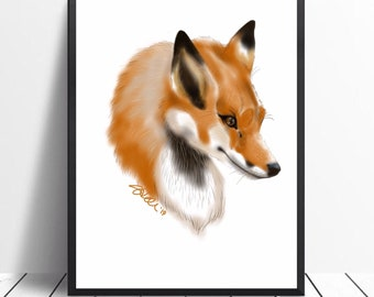 Sly Red Fox portrait digital art