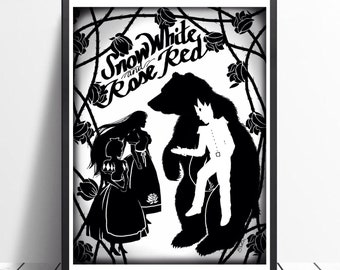 Snow White and Rose Red Silhouette Digital Art Grimms Fairytales