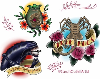 Alien Face Hugger Tattoo Flash Art