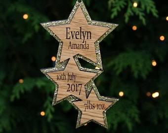 Personalised Gold Star Christmas Decoration