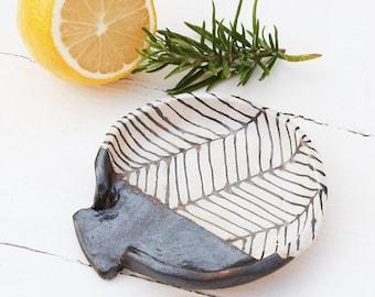Black Herringbone Ceramic Spoon Rest