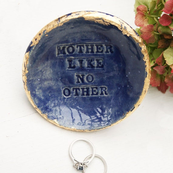 Blue And Gold /'Mother Like No Other/' Ceramic Dish