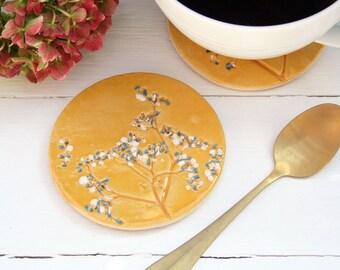 Mustard Wild Flower Coasters