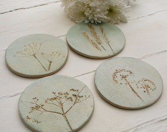 Green And Gold Wild Flower Coasters