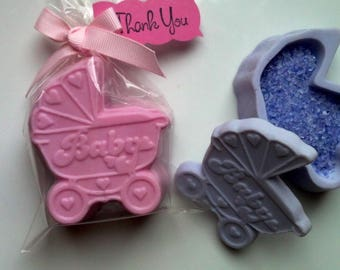 Unique Baby shower favors carriage  buggy  handmade soaps and bath salts