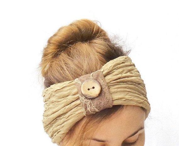 Bestellung professioneller Verkauf Qualität zuerst Rüschen Beige Stirnband mit Knopf, Mode-Haar-Accessoire, niedlichen  Kopfbedeckungen, Stirnband, Turban
