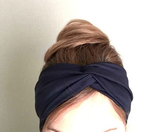 dark blue turban twist headband yogi headwrap workout head band womens headbands girl's turband stretch head wrap yoga hair holder accessory