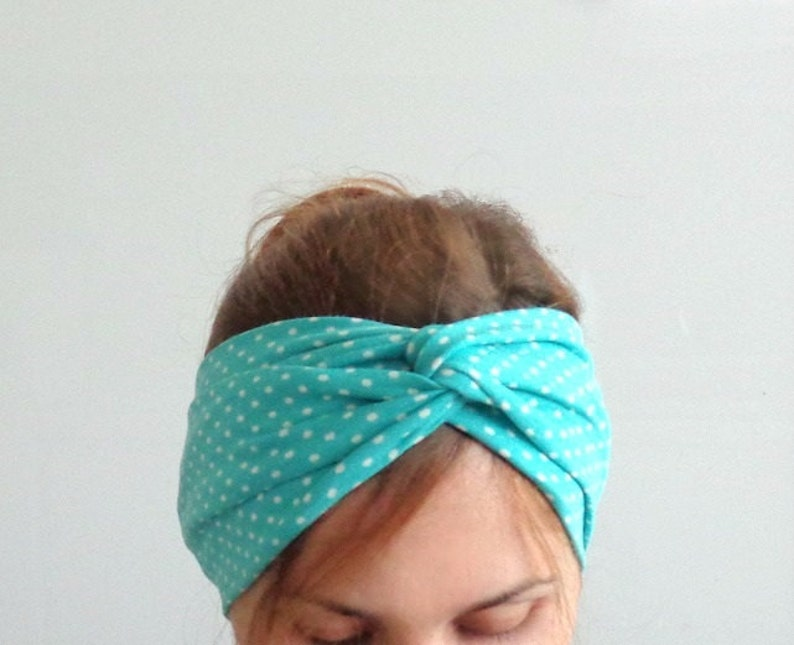 polka dot headband twist headband teal blue turban stretch image 0