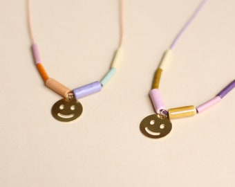 Long Statement Necklace • Smiley • Happy Face • Pastel